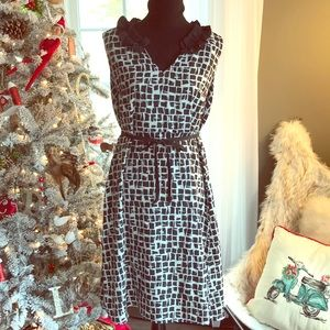 Merona belted black & white dress SZ-14 silky
